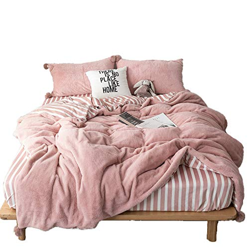 (PromQueen 4 pc Venice Velvet Oversized Solid Duvet Set Pink Stripe (1 Plush Shaggy Duvet Cover + 1 Flat Sheet + Ball Lace Pillow Shams) Queen )