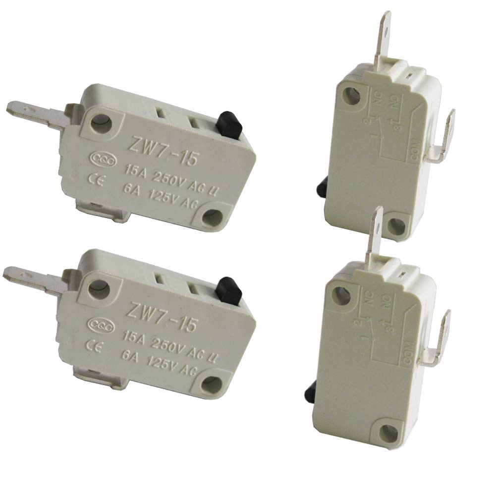 TWTADE/4Pcs Universal Microwave Oven Door Micro Switch for DR52 NC (Normally Close) 16A 125/250V ZW7-15-W/NC
