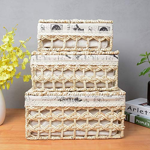 Cool Rattan Cover (Kinue Home DecorAddition Diaper Toy Hamper Three Sets of Box Storage Basket with Cover Straw Rattan Boxes Simple Desktop Toy Glove Box Laundry Basket White (Color : White))