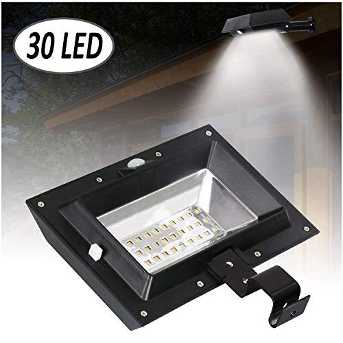 [1 Pack] Solar Gutter Lights, 30 LED PIR Motion Sensor Solar Lights, T-SUNRISE Waterproof Security Lamp for Outside Garage Door,Wall,Stairs Anywhere Safety Lite with Bracket (6000K-Black) by T-SUNRISE