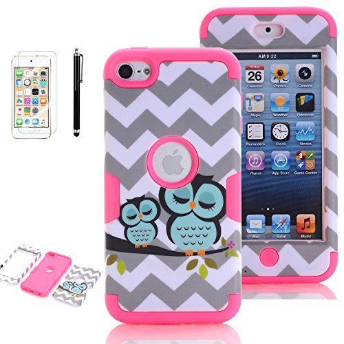 iPod Touch 5th Generation Case, iPod Touch 6 Cases for Girls, VODICO 3 Layer Impact Resistant Hybrid Soft Silicone Hard Plastic Protective Case Cover with Screen Protector+Stylus (Owl Rose)