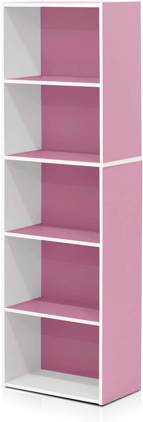 Furinno 5-Tier Reversible Color Open Shelf Bookcase , White/Pink 11055WH/PI