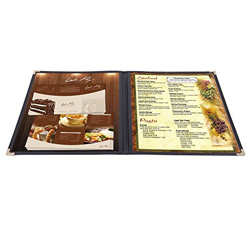 Yescom 30pcs Menu Covers 8.5x11inches Double Stitched Folder 2 Pages 4 Views Bar Restaurant Black ()
