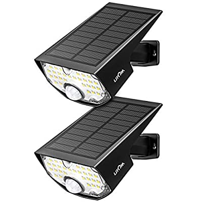 LITOM Solar Lights 14.4 in² Solar Panel Adjustable Installation Angle 3 Optional Modes Sensitive PIR Motion Sensor Light with Wide Angle IP65 Waterproof