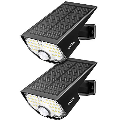 LITOM Solar Lights Outdoors 1.8W Solar Panel IP67 Waterproof Adjustable Installation Angle 3 Optional Modes PIR Solar Motion Light with Wide Angle -2 Pack