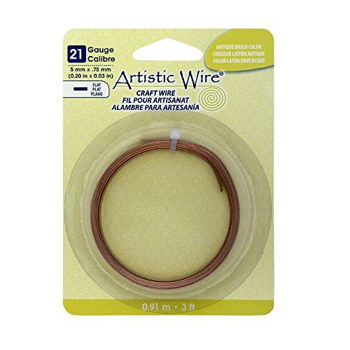 Artistic Wire 21-Gauge Flat 5mm by .75mm, 3-Feet, Antique (Antique Brass Flat)