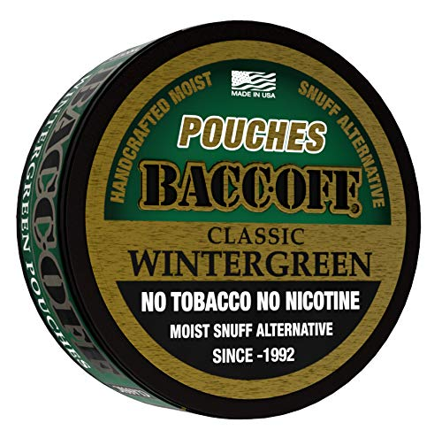 BaccOff, Classic Wintergreen Pouches, Premium Tobacco Free, Nicotine Free Snuff Alternative (10 -