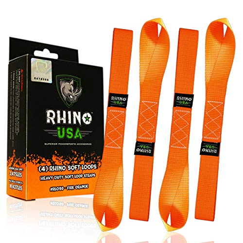 - RHINO USA Soft Loops Motorcycle Tie Down Straps (4pk) - 10,427lb Max Break Strength 1.7