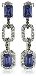 """Judith Jack """"Bold Bijoux"""" Sterling Silver Blue Cubic Zirconia Linear Drop Earrings"""