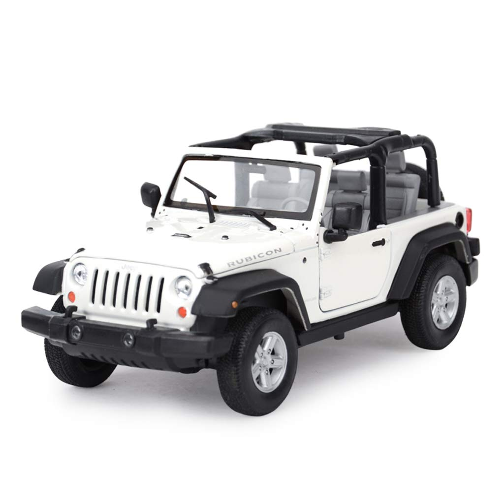 White  Congreenible ZHPBHD Model Car JEEP Wrangler Robin Hood Offroad Vehicle SUV1  24 Analog Diecasting Alloy Toy Model Car model (color   White  hard top)