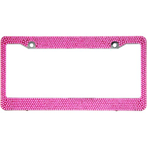 Plate Tags Frame (Hot Pink Crystal Rhinestone License Plate ABS Chrome Frame With Crystal Screw Caps - 1 Frame)
