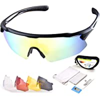 Snowledge Cycling glasses with Interchangeable Lenses Polarised Sports Sunglasses Women Men Cycling Sunglasses with UV400 Protection