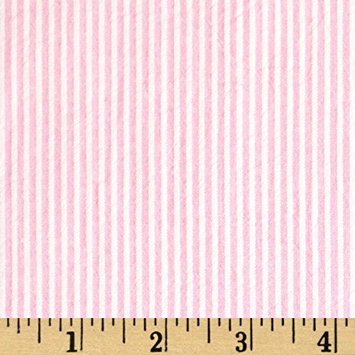Richland Textiles Cotton Seersucker Stripe Pink/White Fabric by The Yard, ()