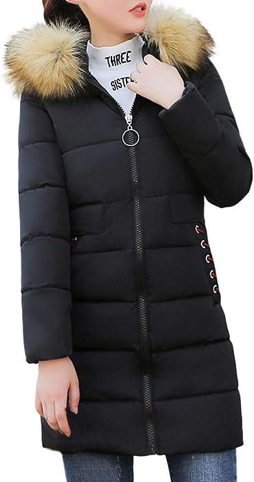 4bcf8f34049 MODOQO Women s Faux Fur Hooded Down Coat Slim Warm Thick Jacket Overcoat (Black,S