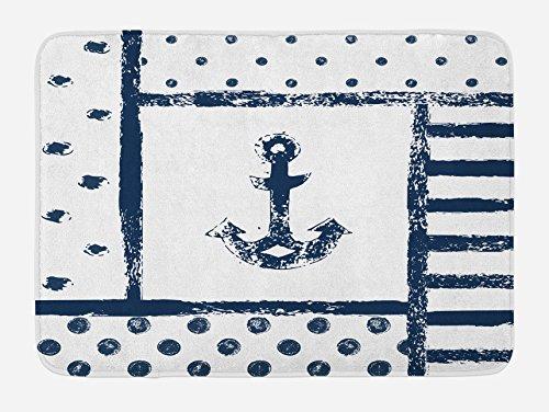 Ambesonne Anchor Bath Mat, Grunge Murky Boat Anchor Silhouette with Polka and Stripe Retro Navy Theme Art, Plush Bathroom Decor Mat with Non Slip Backing, 29.5 W X 17.5 L Inches, Dark Blue White
