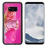 valentines day fondue - Luxlady Samsung Galaxy S8 Plus S8+ Aluminum Backplate Bumper Snap Case IMAGE ID 25773268 pink marshmallow pops with heart shape and pearl sprinkles in cup for valentine