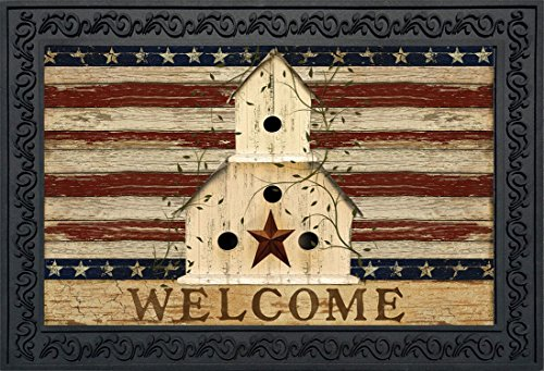 Americana Welcome Doormat Patriotic Primitive Birdhouse Indoor Outdoor 18