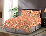 Bombay Dyeing Element Polycotton Double Bedsheet with 2 Pillow Covers -Orange