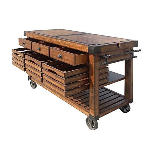 Farmhouse Kitchen ACME Furniture Kitchen Cart, Distress Chestnut farmhouse kitchen islands and carts