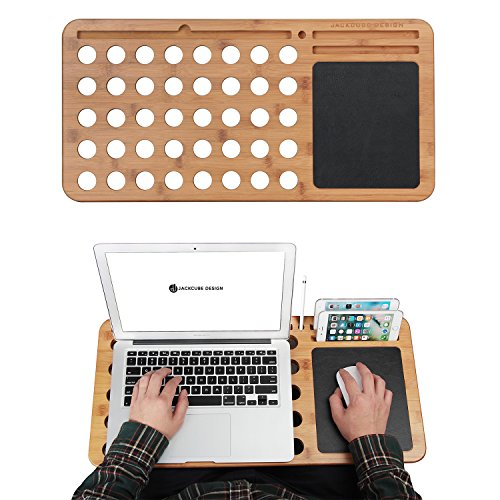(JackCubeDesign Bamboo Laptop Lap Desk Pad Board Notebook Tablet Cellphone Smartphone Stand Holder Organizer with Built-in Mouse Pad and Hole for Cooling – :MK298B)