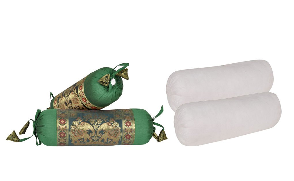 Lalhaveli Green Color Silk Round Bolster Pillow With Cushion Covers Set Of 4 Pcs 16 x 5 Inch