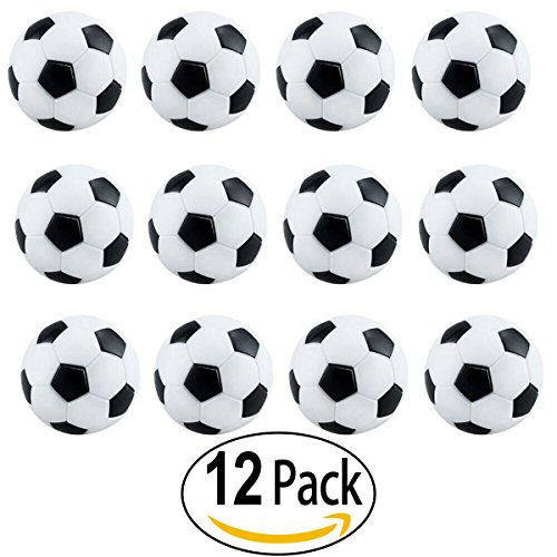 Official Soccer Ball White (Foosballs Replacements Mini Black and White Soccer Balls - Set of official table football 12 Pack)