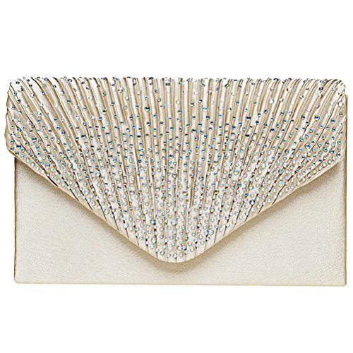 Fashion Road Women Satin Clutch, Rhinestone Evening Clutch, Envelope Clutch Purse, Pleated Flap Handbag for Wedding, Party and Prom Apricot by FASHIONROAD (Image #1)