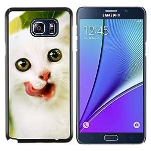 Angora Van Gatito noruego Blanca- Metal de aluminio y de plástico duro Caja del teléfono - Negro - Samsung Galaxy Note5 / N920