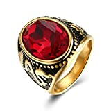 Epinki Gold Plated Men Ring Oval Cubic Zirconia Red Engagement Band And Wedding Rings Size 9 Men Accessories