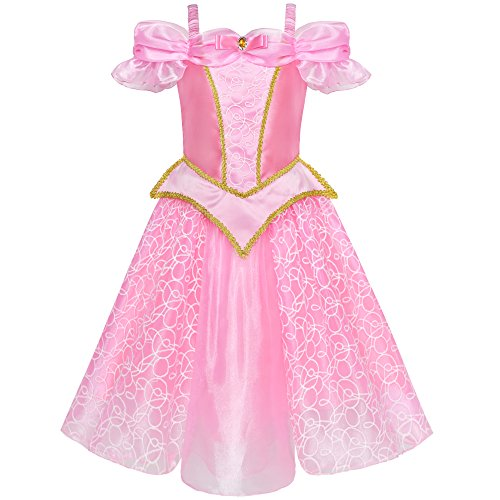 Girls Dress Princess Aurora Costume Briar Rose Dress Up Pink Size 10 -