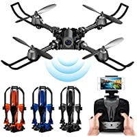 PinPle Drone Foldable RC Quadcopter RTF 2.4G 4CH 6 Axis Gyro Quadcopter with WiFi FPV 0.3MP Camera - Altitude Hold & App Control (Black)