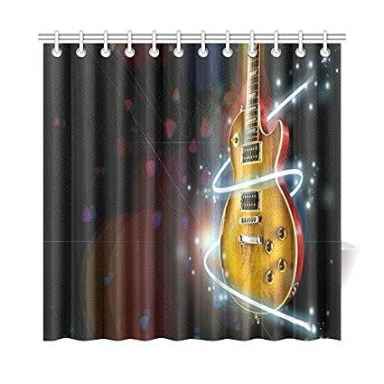 Amazon Guitar Waterproof Bathroom Decor Fabric Shower Curtain