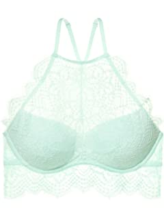 94a5c2483 Victoria Secret Pink The Eyelash Lace High-Neck Push Up Bralette Bra ...