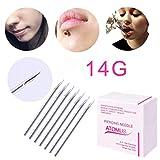 Dreamyth Body Piercing Needle 12G/14G/16G/18G/20G Disposable Sterilized Gauge Catheter for Navel Nose Lip Ear (14G 100PCS)