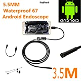 FindFine 11.5FT Long Android Smartphone USB HD Endoscope Inspection Camera 5.5MM Diameter Ultra Slim 6 LEDs IP67 Waterproof Snake Borescope Mini USB Inspection Camera