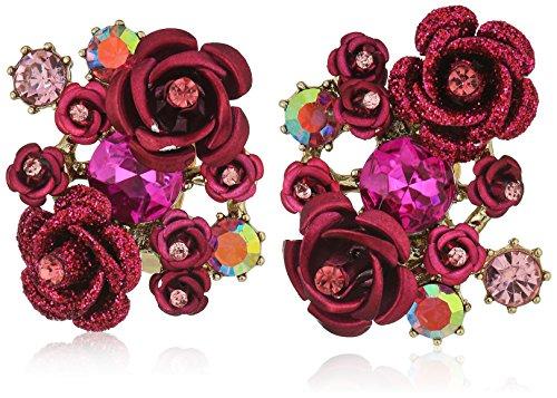 Betsey Johnson Pink Flower (Betsey Johnson Roses Pink Tonal Cluster Flower Clip-On Earrings)