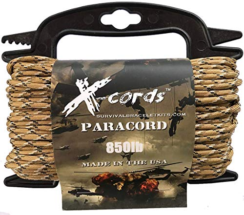 X-CORDS Paracord 850 Lb Stronger Than 550 and 750 Made by Us Government Certified Contractor (100' Desert CAMO ON Spool 850) by X-CORDS (Image #1)