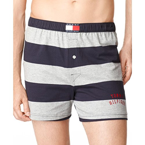 Tommy Hilfiger Men's Rugby Knit Stripe Boxer, Grey/Navy, X-Large (Boxer Striped Rugby)
