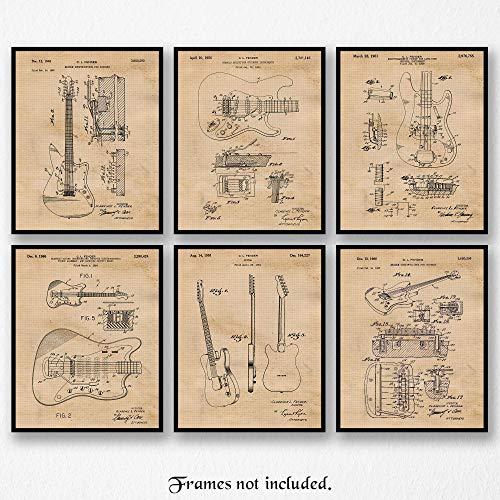 Original Fender Guitars Patent Art Poster Prints- Set of 6 (Six 8x10) Unframed Photos- Great Wall Art Decor Gifts Under $20 for Home, Office, Garage, Man Cave, Studio, Student, Teacher, - Photo Original Rock