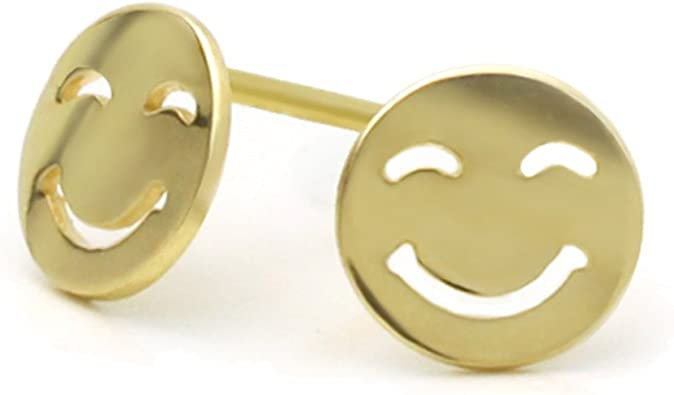 14K Yellow Gold High Polished Smile Happy Face Screwback Stud Earrings