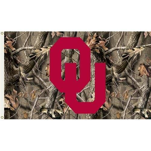 (Collegiate / College / NCAA Oklahoma Sooners 3 Ft. x 5 Ft. Flag with Grommets - Realtree Camo Background)