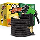 Flexi Hose & 8 Function Nozzle, 50 Foot Lightweight Expandable Garden Hose | No-Kink Flexibility - Extra Strength with 3/4 Inch Solid Brass Fittings & Double Latex Core | Rot, Crack, & Leak Resistant