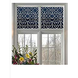 Custom-Made Faux Roman Valance in Navy & Natural or Grey & Natural Trellis Print 100% Cotton Canvas Fabric. Fully Lined. Cordless. Ready to Hang
