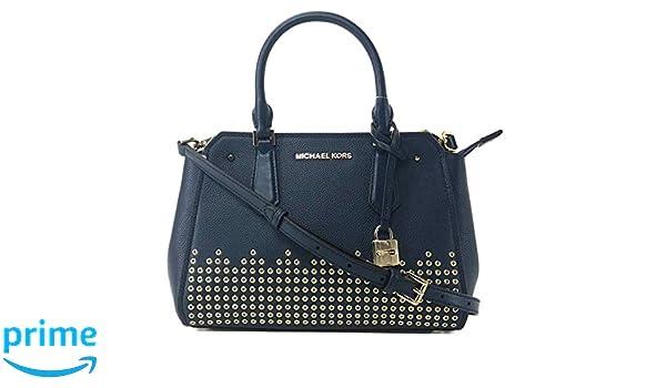 0d035f10899d21 Amazon.com: MICHAEL Michael Kors Hayes Medium Blue Leather Messenger Bag -  NAVY: Shoes
