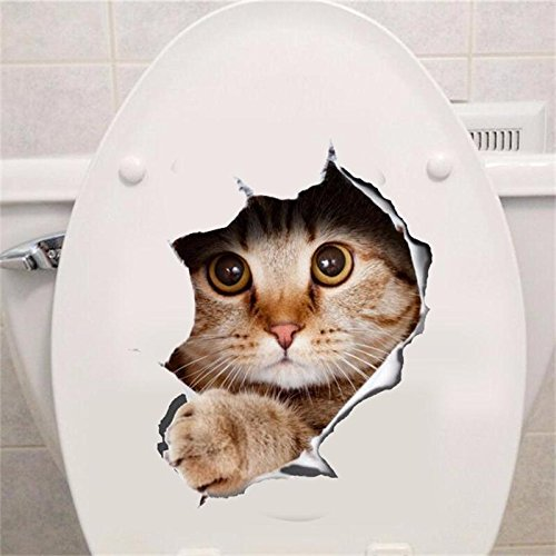 Copter Shop Vivid Cute Cats 3D Hole View Wall Sticker Bathroom Toilet Living Room Decoration Animal Pet Decals Art Sticker Wall - K Sunglasses Logo