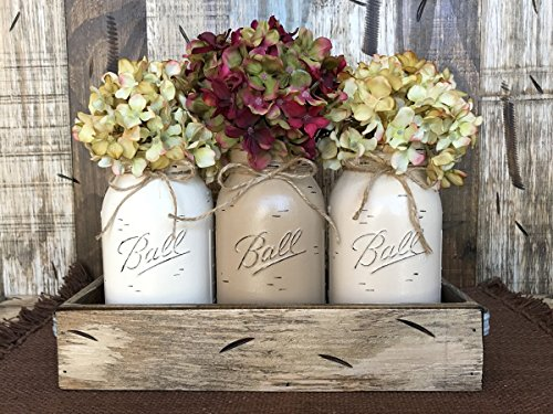 Mason Canning Jar Table Centerpiece with 3 Hand Painted Ball QUART Jars in Distressed Wood Tray rusty handles - CREAM, COFFEE, SAND (pictured) -Hydrangea Flowers are optional *STUNNINGLY BEAUTIFUL* (Nightstand Wood And Mirror)
