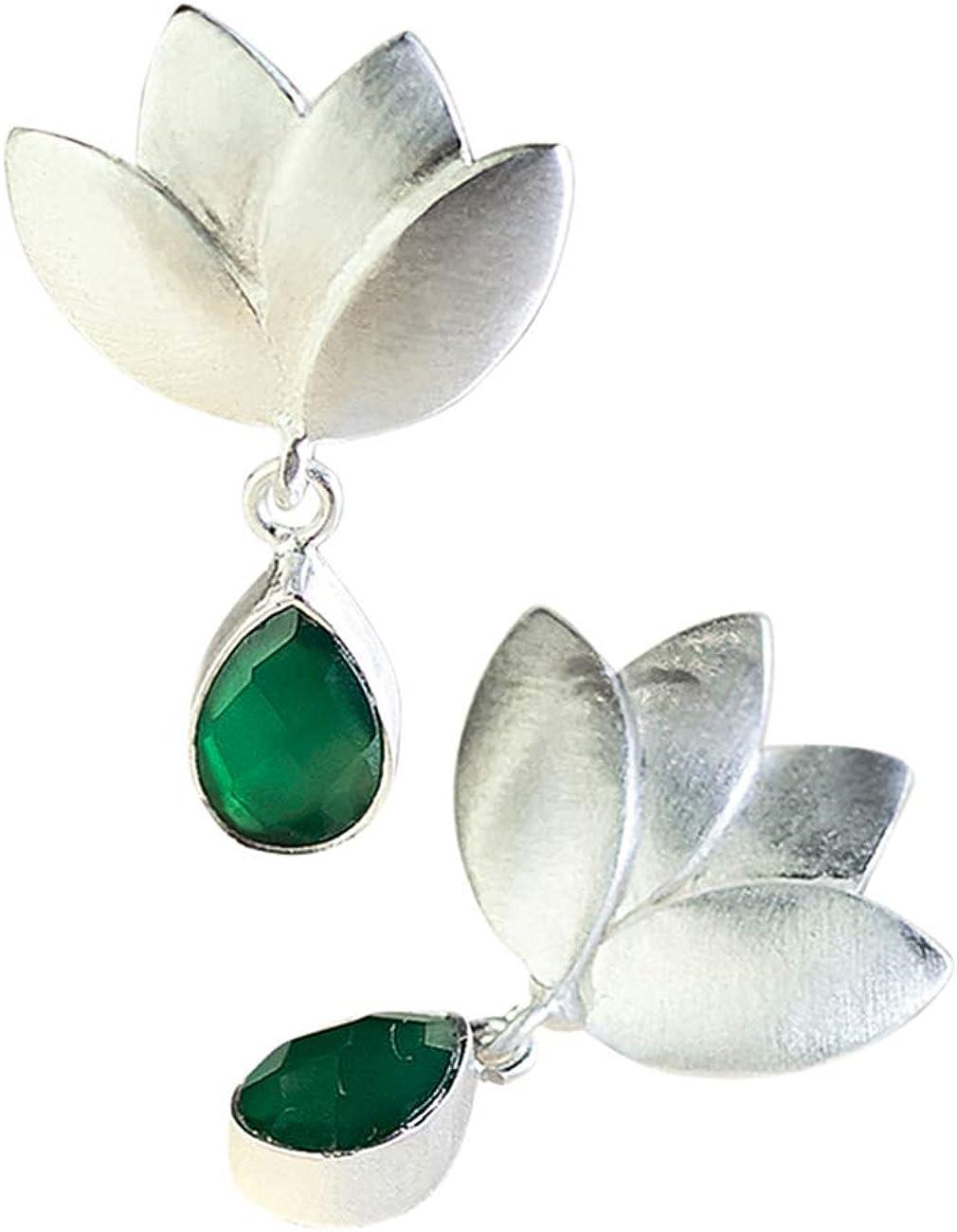 Pendientes Flor de Loto Plata de Ley con Piedra Semipreciosa Natural Onix Verde para Mujer