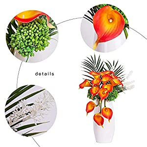 YUYAO Calla Lily Artificial Flowers Bridal Wedding Bouquets Latex Real Touch Lillies Flower Arrangements for Home Party (03, Sunset) 4