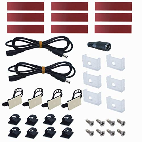 Self-adhesive Mounting Pads Mounting Clips Screws Cable Ties Kit for Litever Cabinet Lighting Kit LL-008