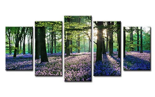 Youkuart- Canvas Print Giclee Artwork for Wall Decor, Stretched and Framed Art Work, Provence Lavender - 5 Panels Modern Paintings Canvas Wall Art for Home and Office Decoration Landscape Picture Prints on Canvas Art